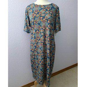 LuLaRoe 2XL Julia dress blue paisley scroll NWT